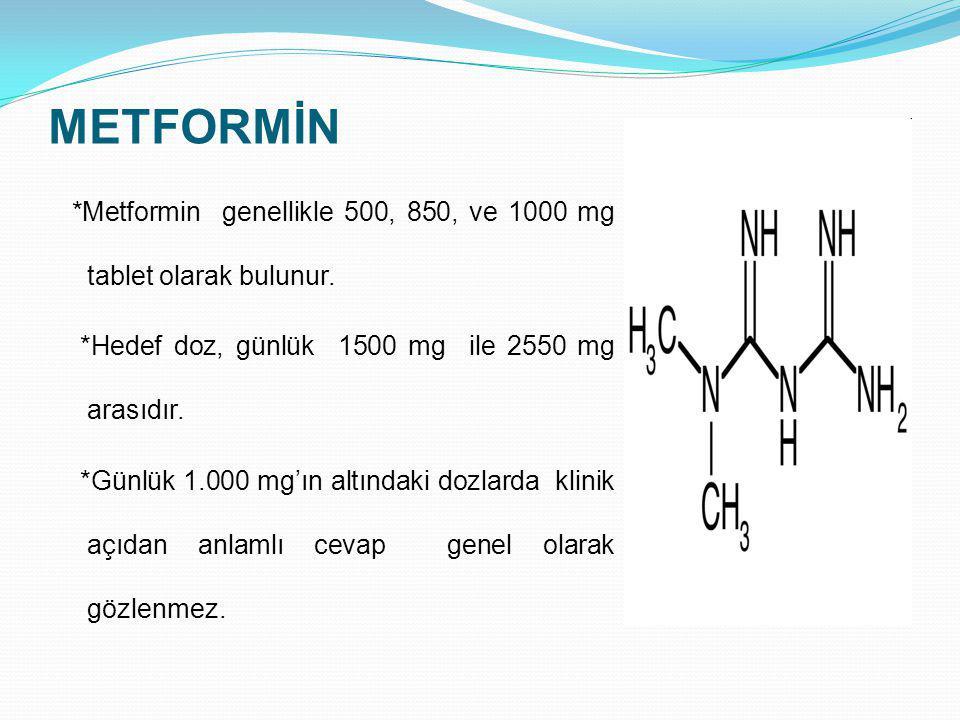 METFORMİN *Hedef doz, günlük 1500 mg ile 2550 mg arasıdır.