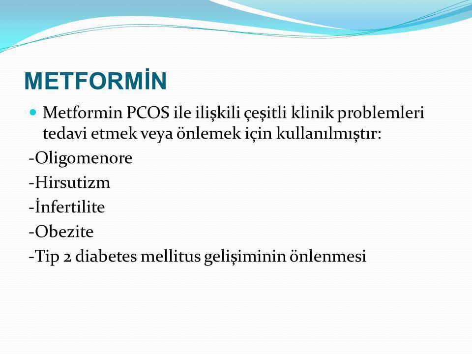METFORMİN Metformin PCOS ile ilişkili çeşitli klinik problemleri tedavi etmek veya önlemek için kullanılmıştır: