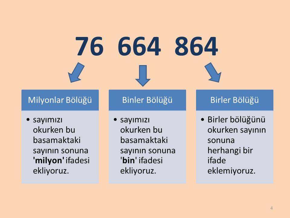 76 664 864 Milyonlar Bölüğü. sayımızı okurken bu basamaktaki sayının sonuna milyon ifadesi ekliyoruz.