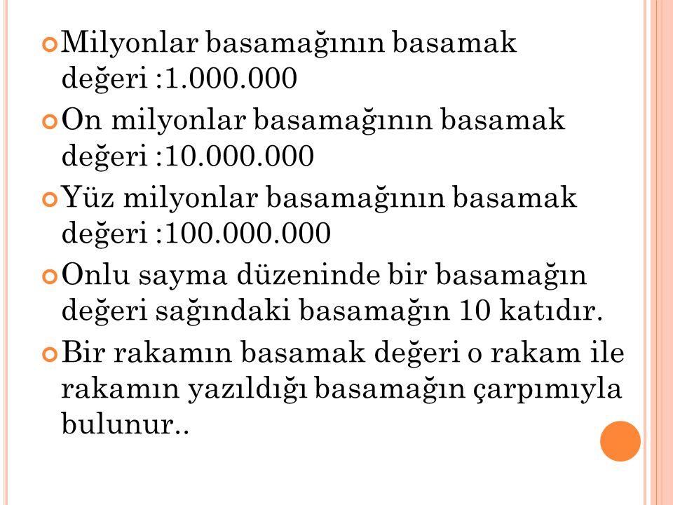 Milyonlar basamağının basamak değeri :1.000.000