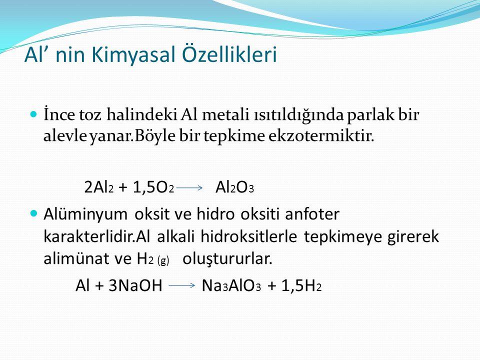 Al' nin Kimyasal Özellikleri