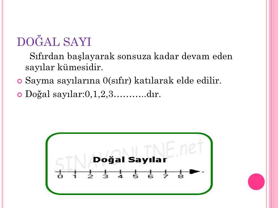 DOĞAL SAYI Sıfırdan başlayarak sonsuza kadar devam eden sayılar kümesidir. Sayma sayılarına 0(sıfır) katılarak elde edilir.