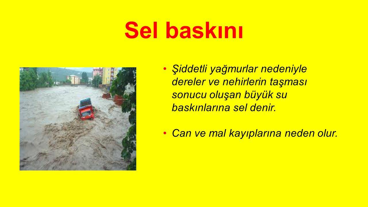 Sel baskını Şiddetli yağmurlar nedeniyle dereler ve nehirlerin taşması sonucu oluşan büyük su baskınlarına sel denir.
