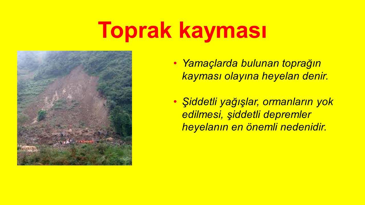 Toprak kayması Yamaçlarda bulunan toprağın kayması olayına heyelan denir.
