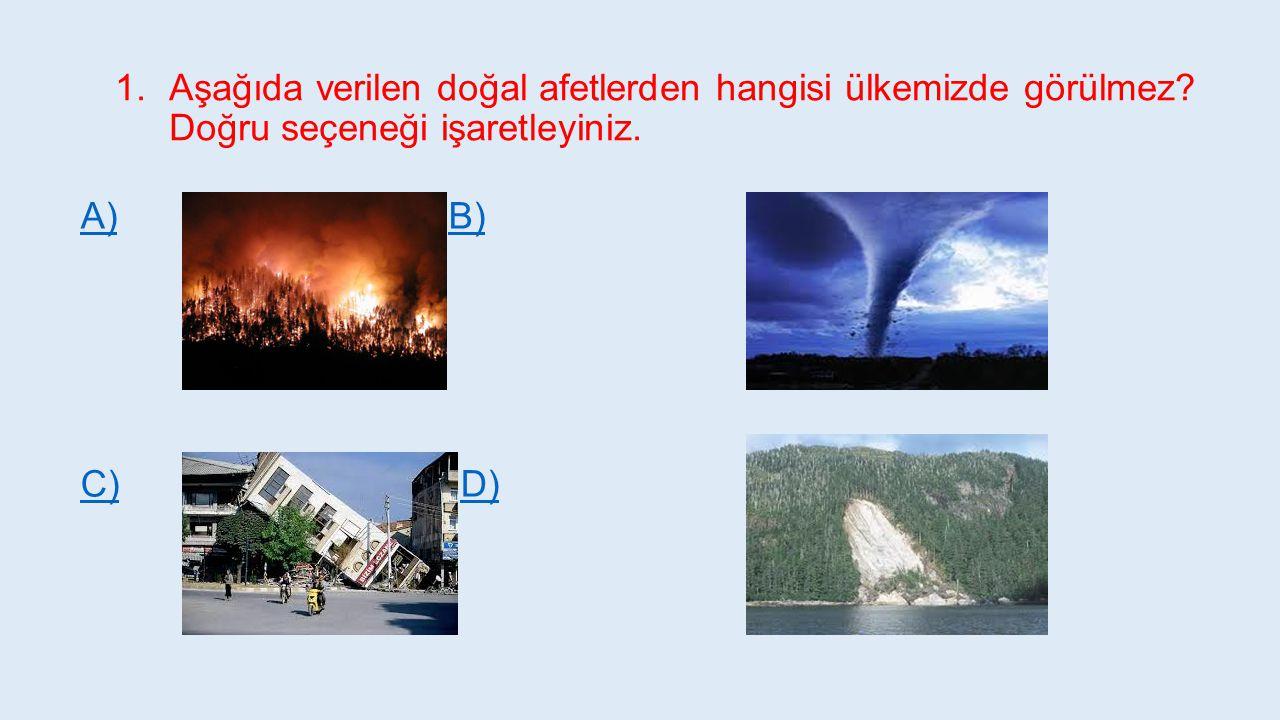 Aşağıda verilen doğal afetlerden hangisi ülkemizde görülmez