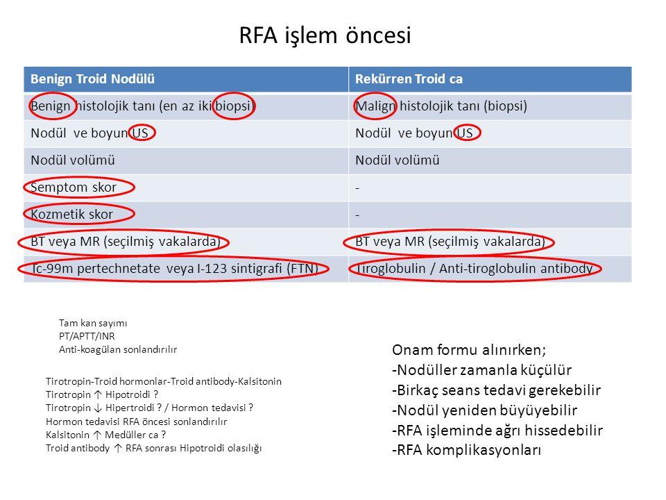 RFA işlem öncesi Onam formu alınırken; -Nodüller zamanla küçülür