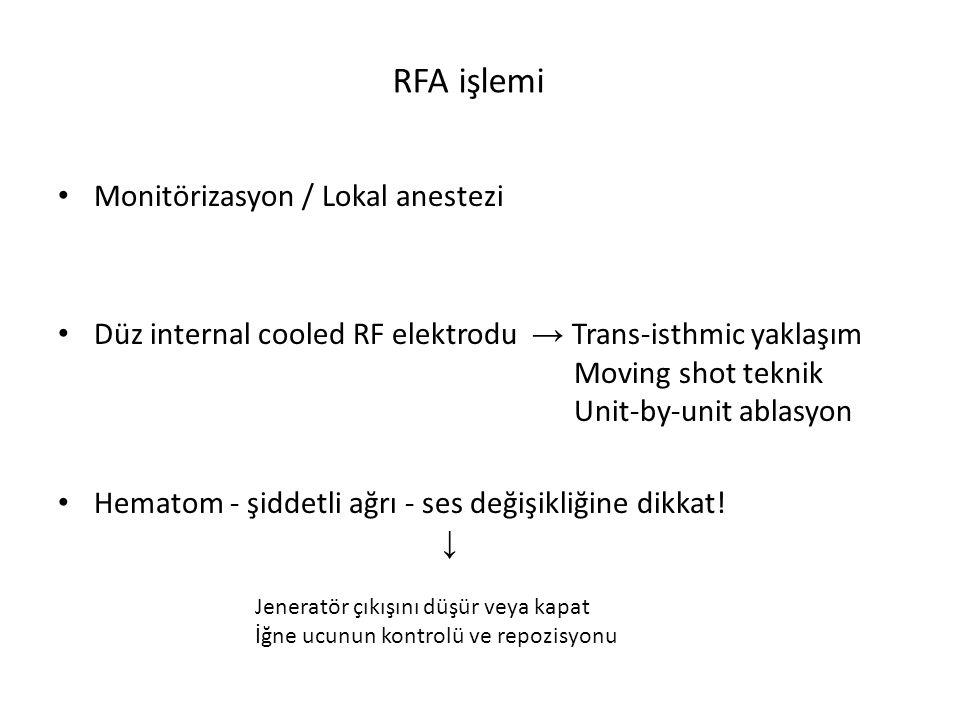 RFA işlemi Monitörizasyon / Lokal anestezi