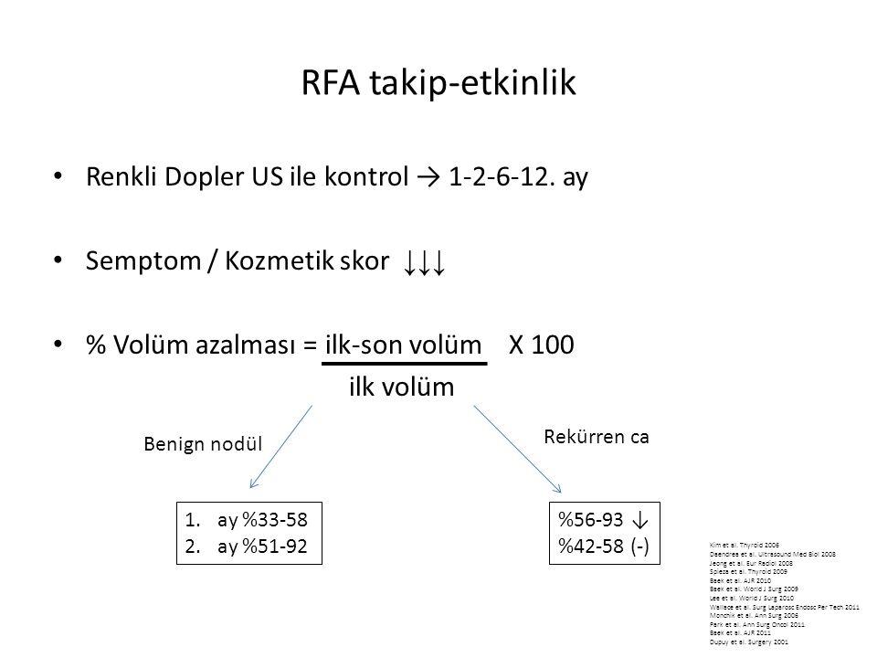RFA takip-etkinlik Renkli Dopler US ile kontrol → 1-2-6-12. ay