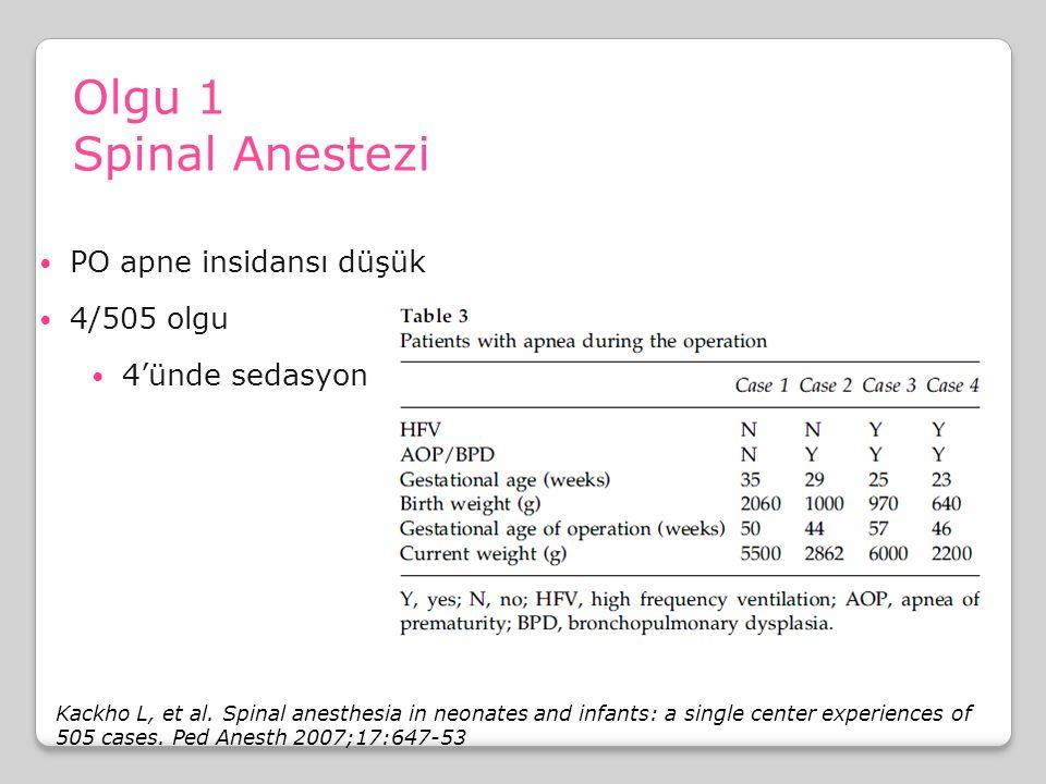 Olgu 1 Spinal Anestezi PO apne insidansı düşük 4/505 olgu