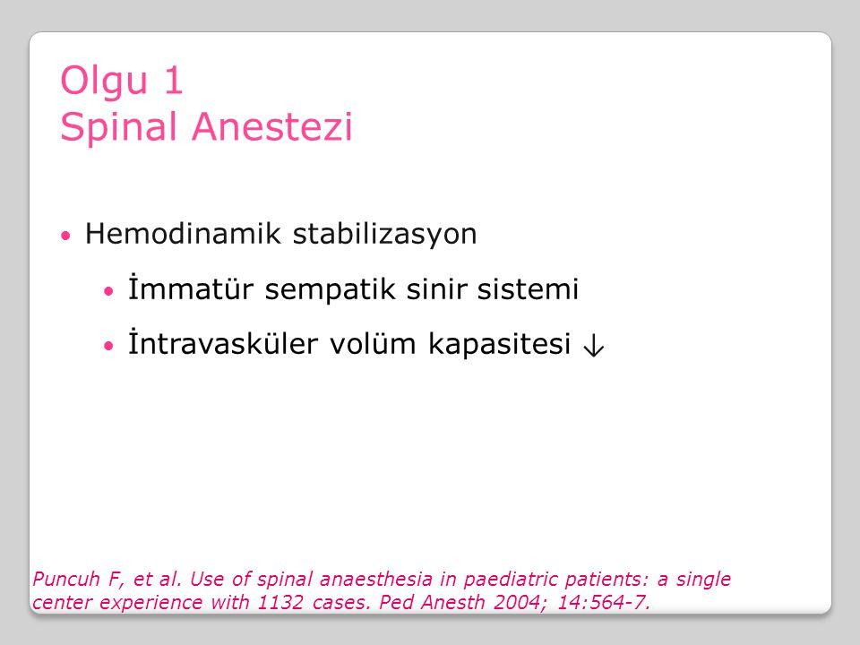 Olgu 1 Spinal Anestezi Sempatolitik etkiler Hemodinamik stabilizasyon