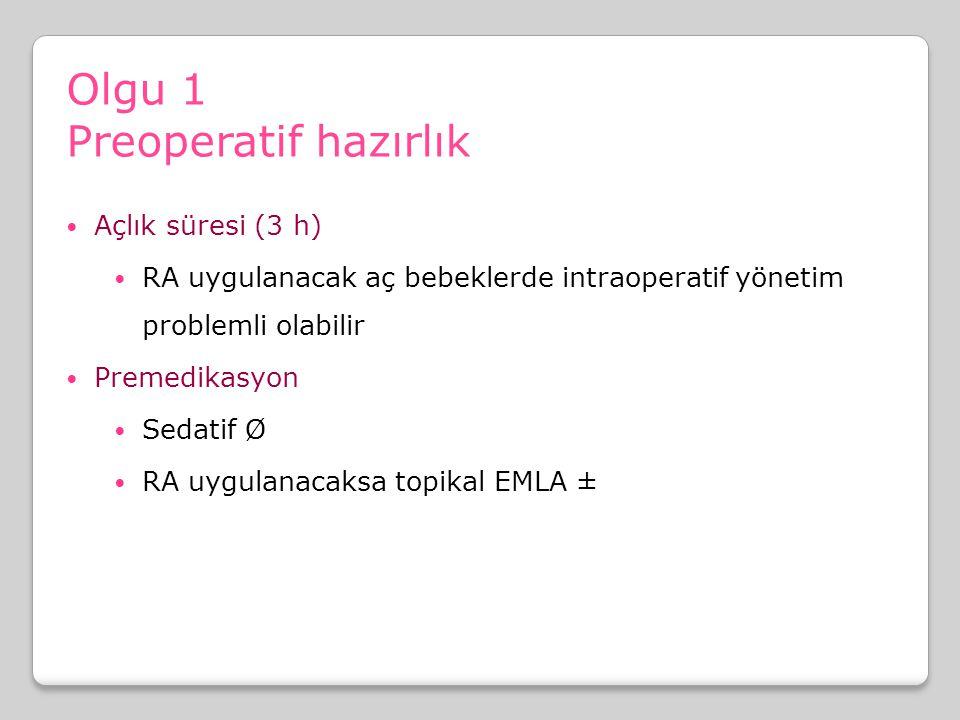 Olgu 1 Preoperatif hazırlık Açlık süresi (3 h)
