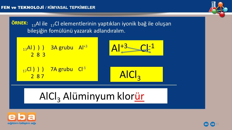 Al+3 Cl-1 AlCl3 FEN ve TEKNOLOJİ / KİMYASAL TEPKİMELER 2 8 3