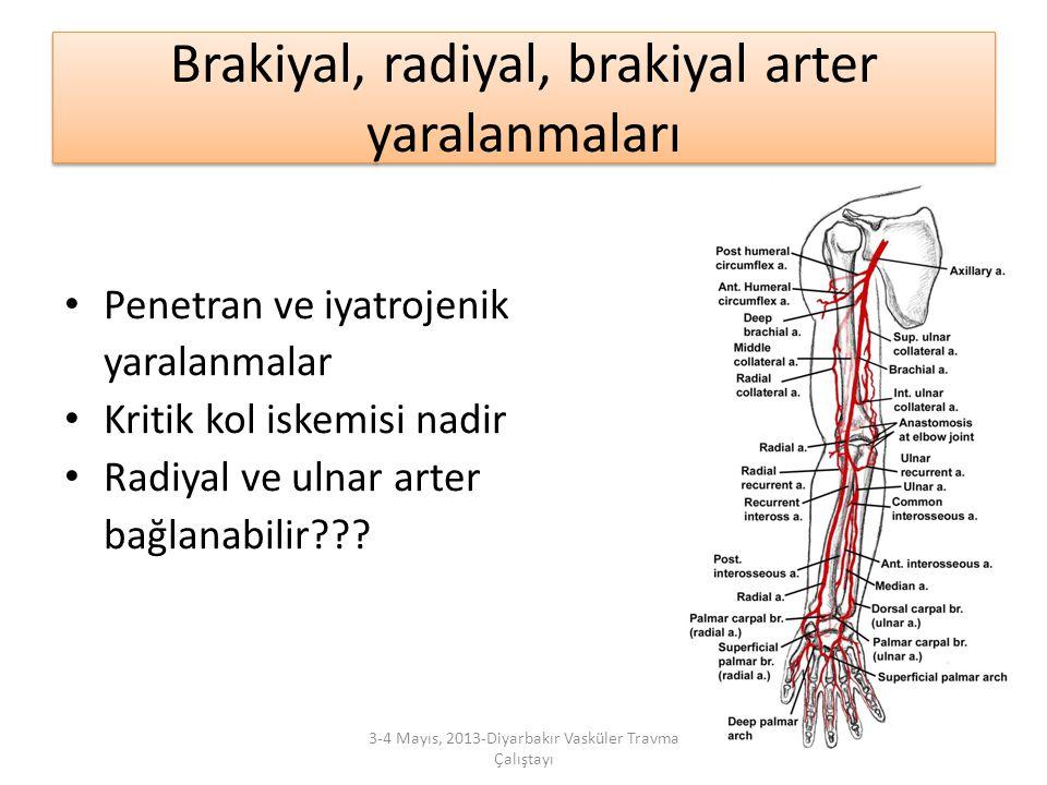 Brakiyal, radiyal, brakiyal arter yaralanmaları
