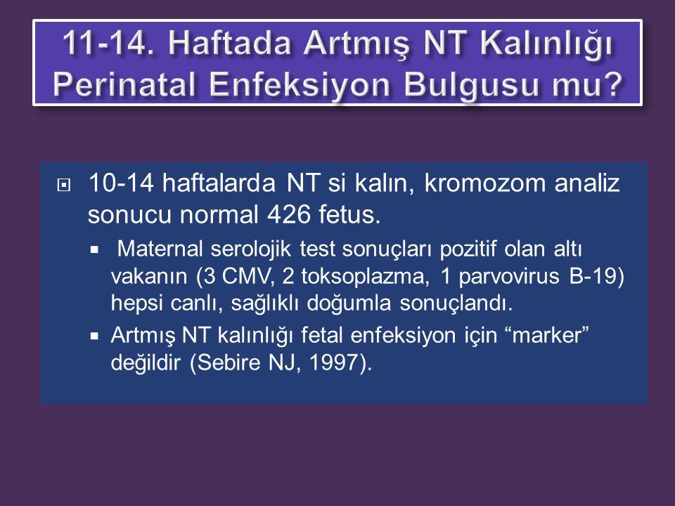 11-14. Haftada Artmış NT Kalınlığı Perinatal Enfeksiyon Bulgusu mu