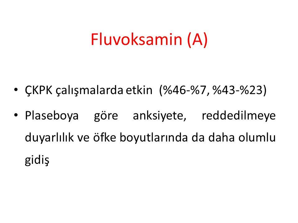 Fluvoksamin (A) ÇKPK çalışmalarda etkin (%46-%7, %43-%23)