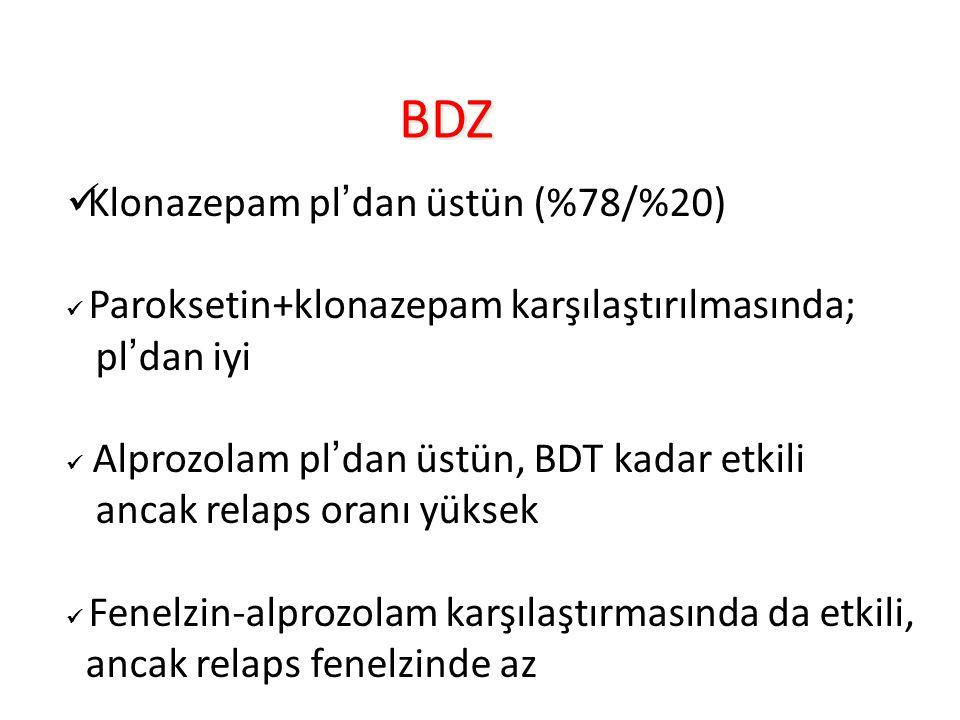 BDZ Klonazepam pl'dan üstün (%78/%20) pl'dan iyi