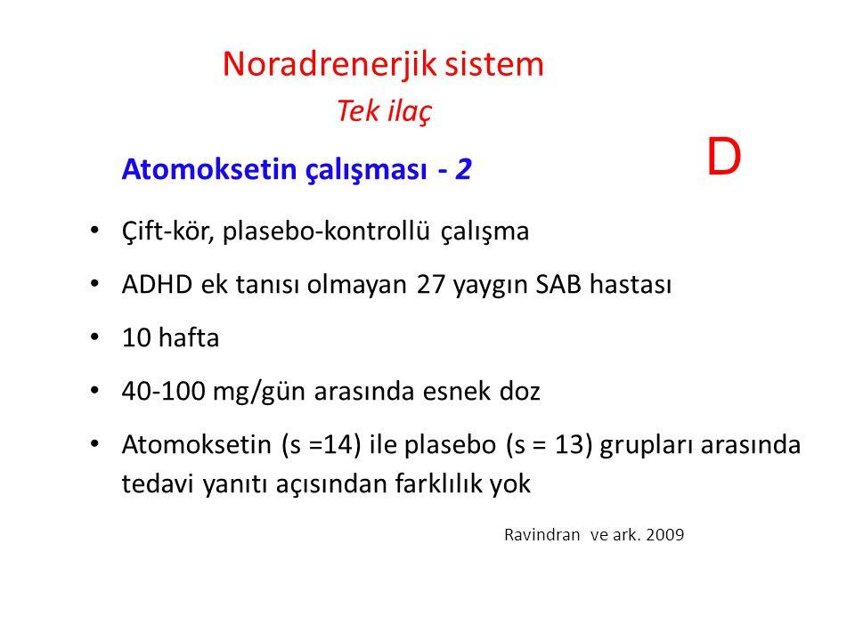 Noradrenerjik sistem Tek ilaç