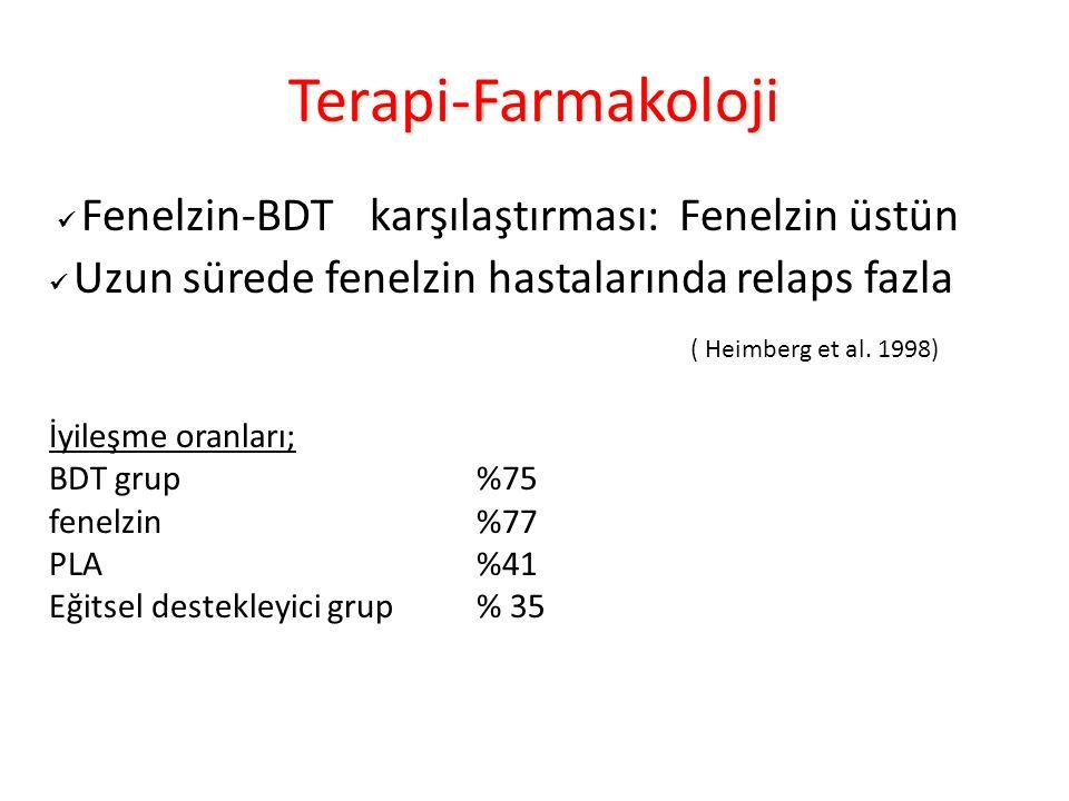 Terapi-Farmakoloji  Fenelzin-BDT karşılaştırması: Fenelzin üstün