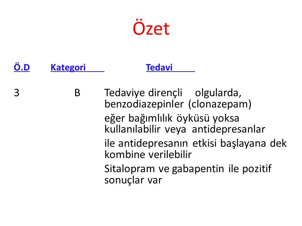 Özet 3 B Tedaviye dirençli olgularda, benzodiazepinler (clonazepam)