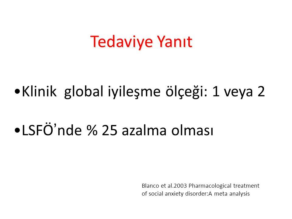 Tedaviye Yanıt Klinik global iyileşme ölçeği: 1 veya 2