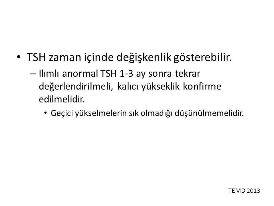 TSH zaman içinde değişkenlik gösterebilir.