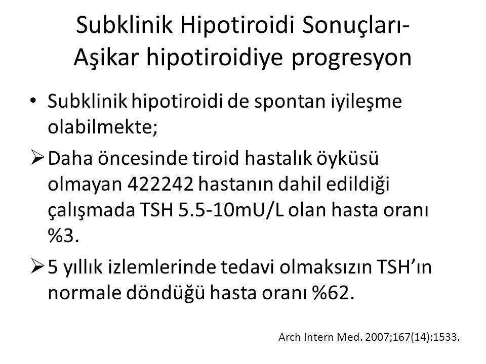 Subklinik Hipotiroidi Sonuçları- Aşikar hipotiroidiye progresyon