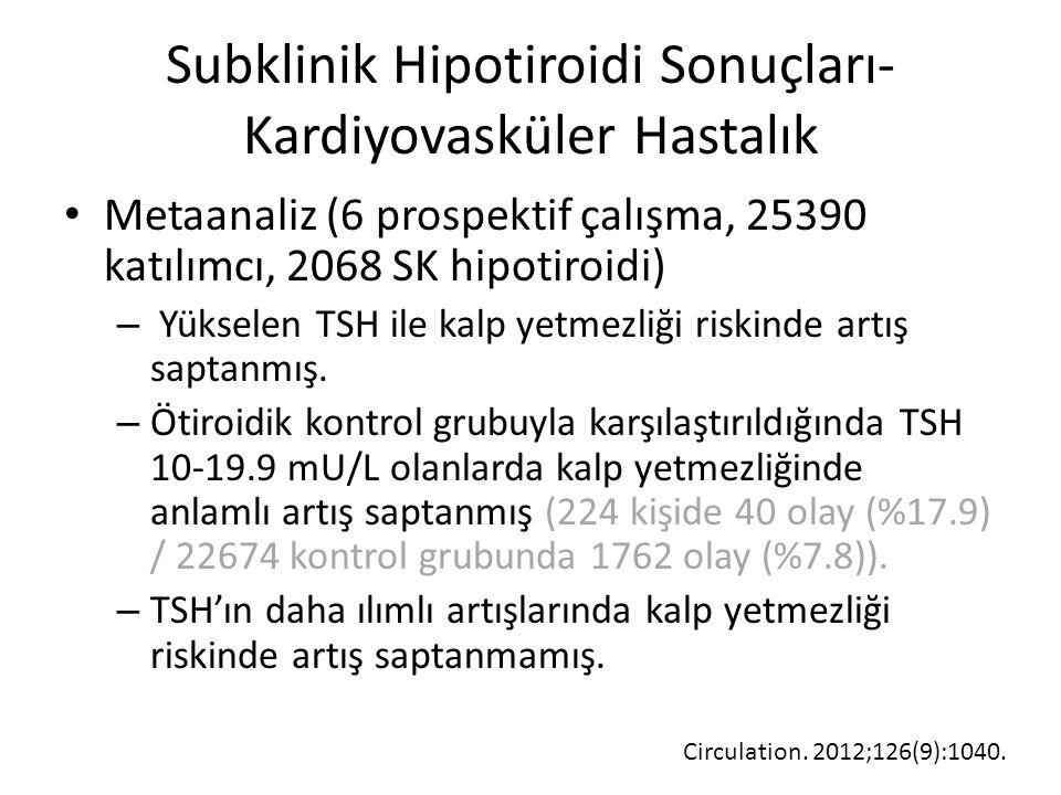 Subklinik Hipotiroidi Sonuçları- Kardiyovasküler Hastalık