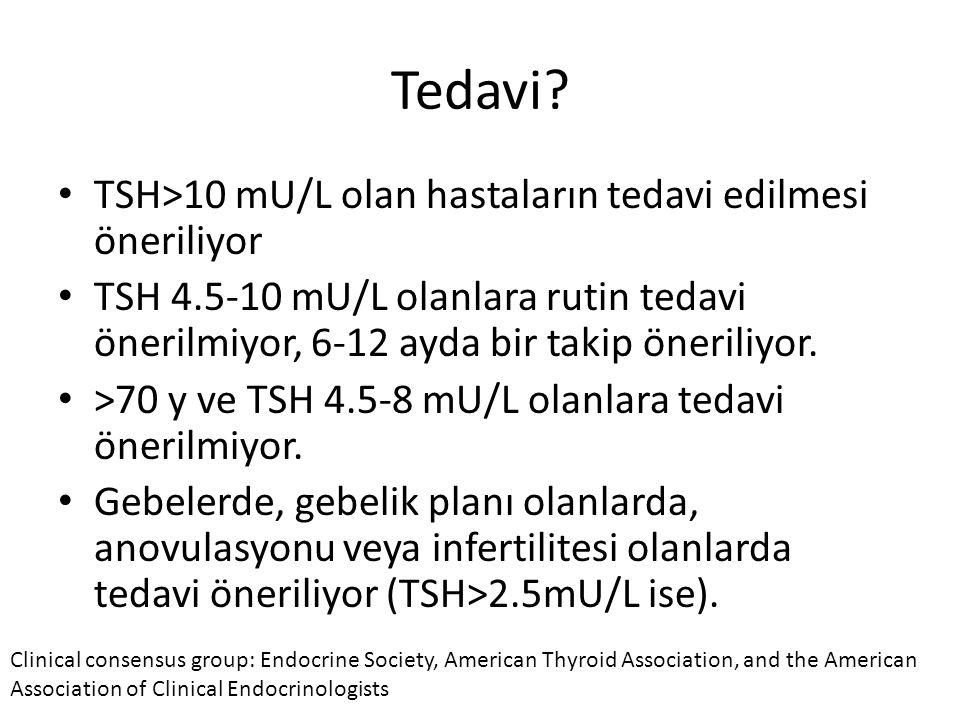 Tedavi TSH>10 mU/L olan hastaların tedavi edilmesi öneriliyor