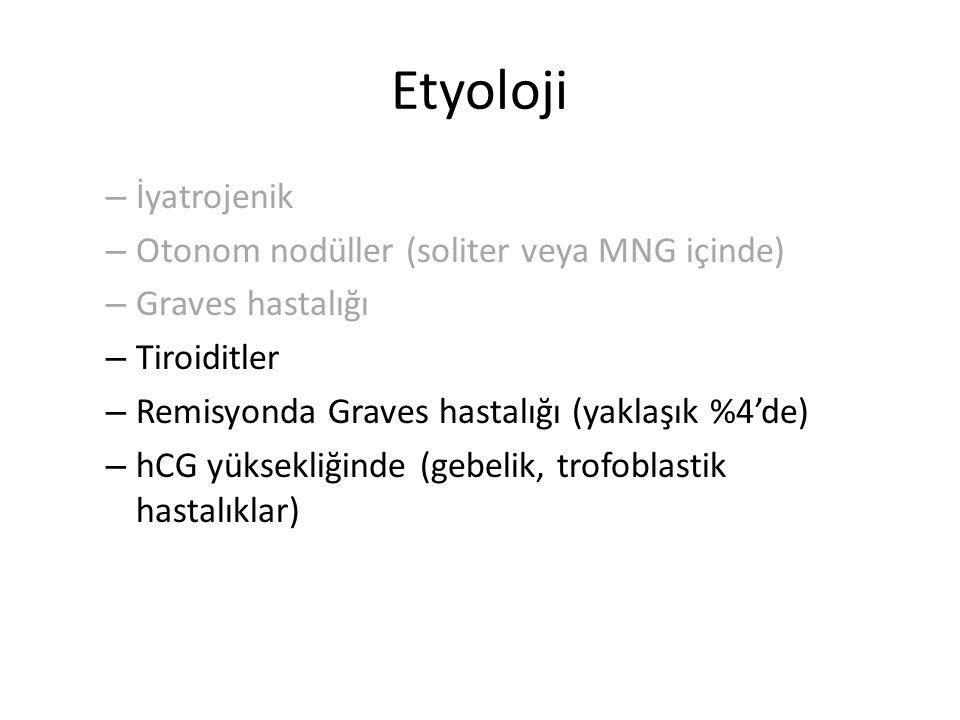 Etyoloji İyatrojenik Otonom nodüller (soliter veya MNG içinde)