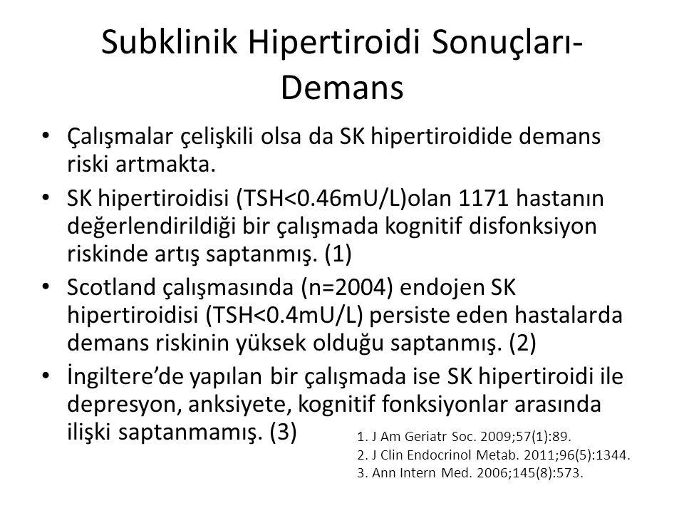 Subklinik Hipertiroidi Sonuçları- Demans