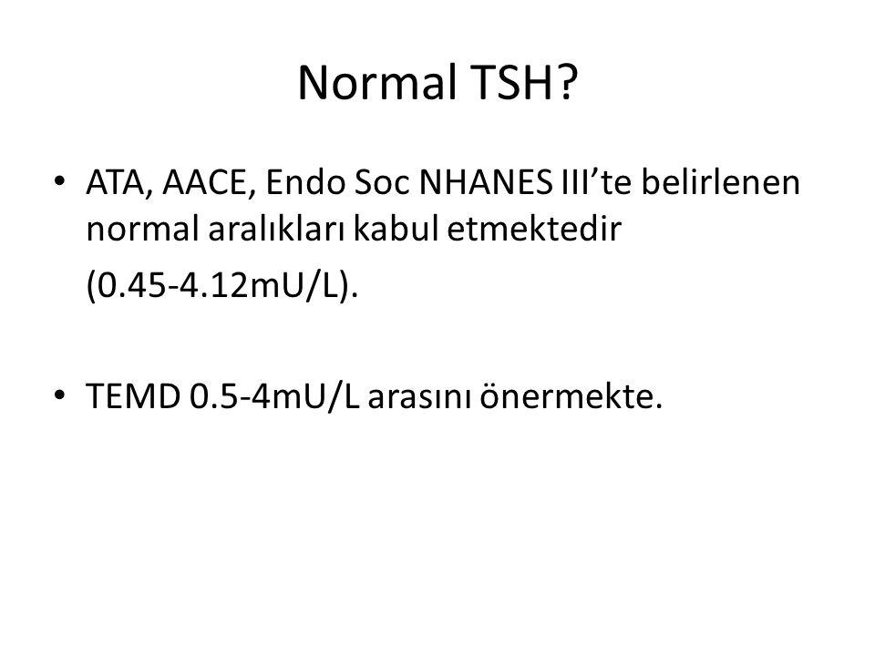 Normal TSH ATA, AACE, Endo Soc NHANES III'te belirlenen normal aralıkları kabul etmektedir. (0.45-4.12mU/L).