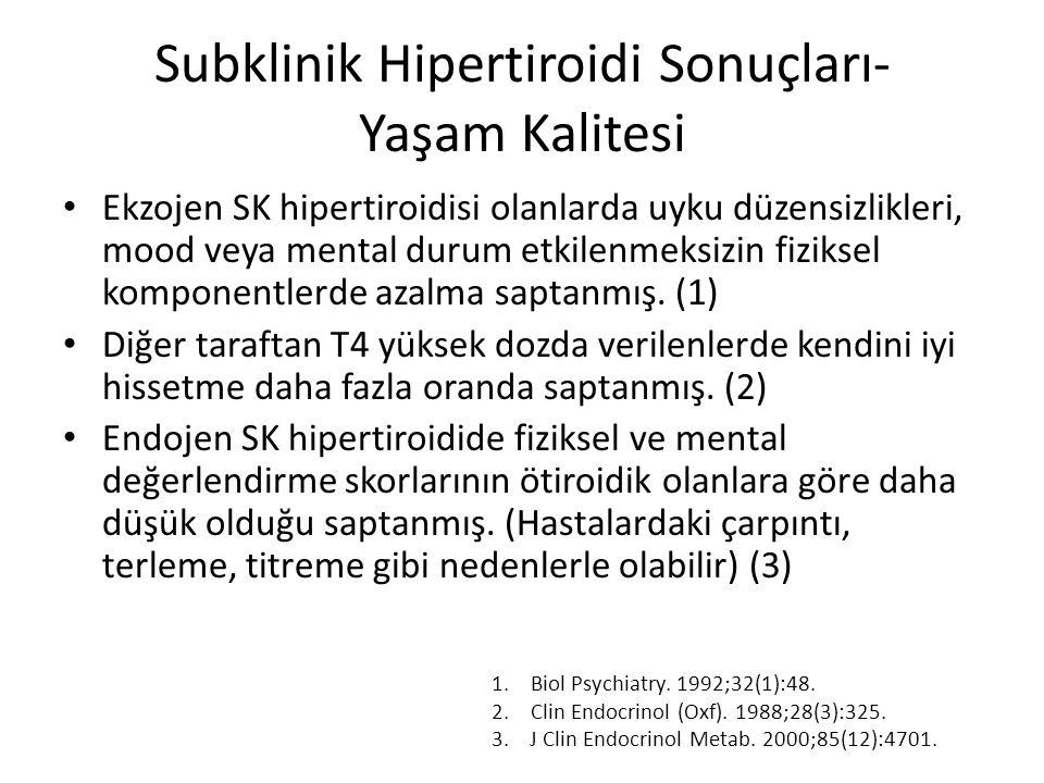 Subklinik Hipertiroidi Sonuçları- Yaşam Kalitesi