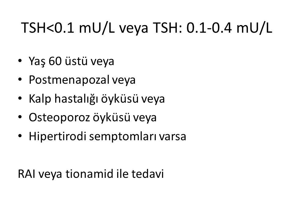 TSH<0.1 mU/L veya TSH: 0.1-0.4 mU/L