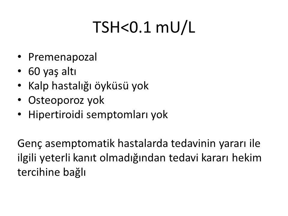 TSH<0.1 mU/L Premenapozal 60 yaş altı Kalp hastalığı öyküsü yok