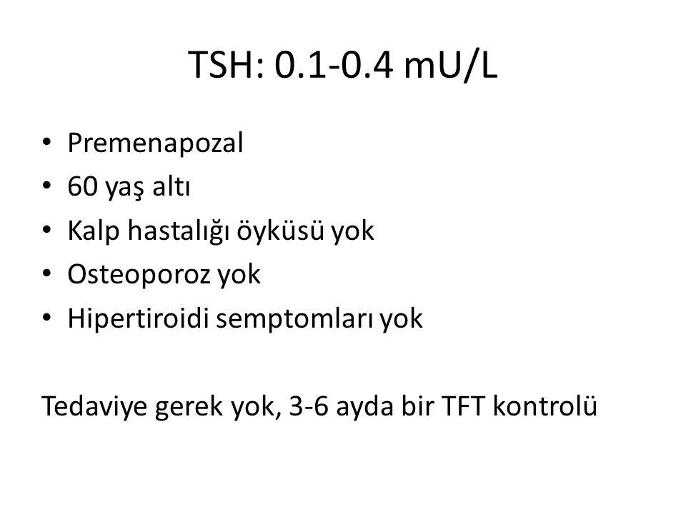 TSH: 0.1-0.4 mU/L Premenapozal 60 yaş altı Kalp hastalığı öyküsü yok