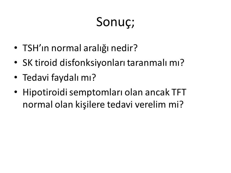 Sonuç; TSH'ın normal aralığı nedir