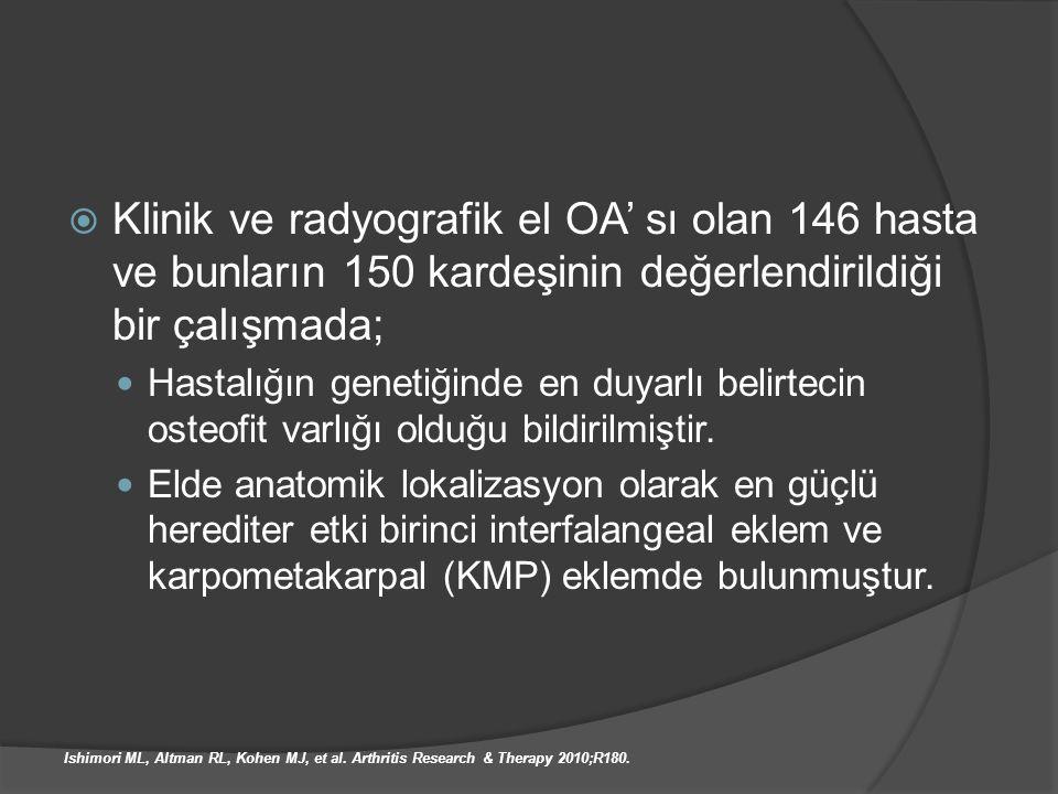 Klinik ve radyografik el OA' sı olan 146 hasta ve bunların 150 kardeşinin değerlendirildiği bir çalışmada;