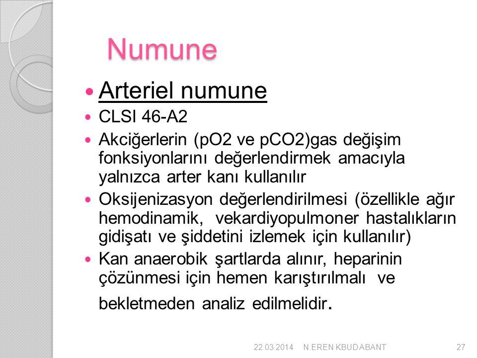 Numune Arteriel numune CLSI 46-A2