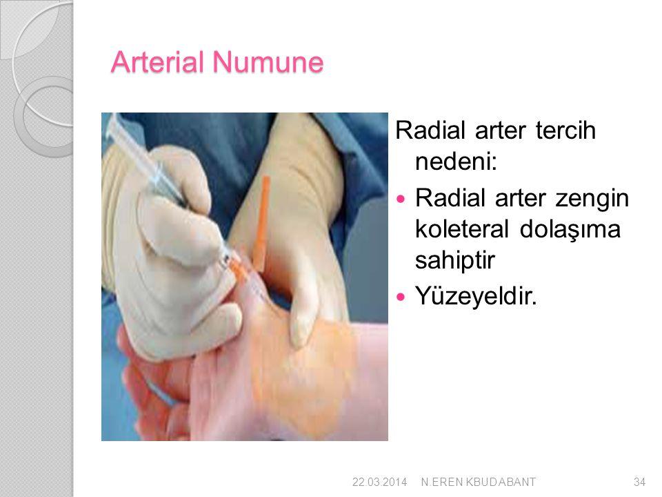 Arterial Numune Radial arter tercih nedeni: