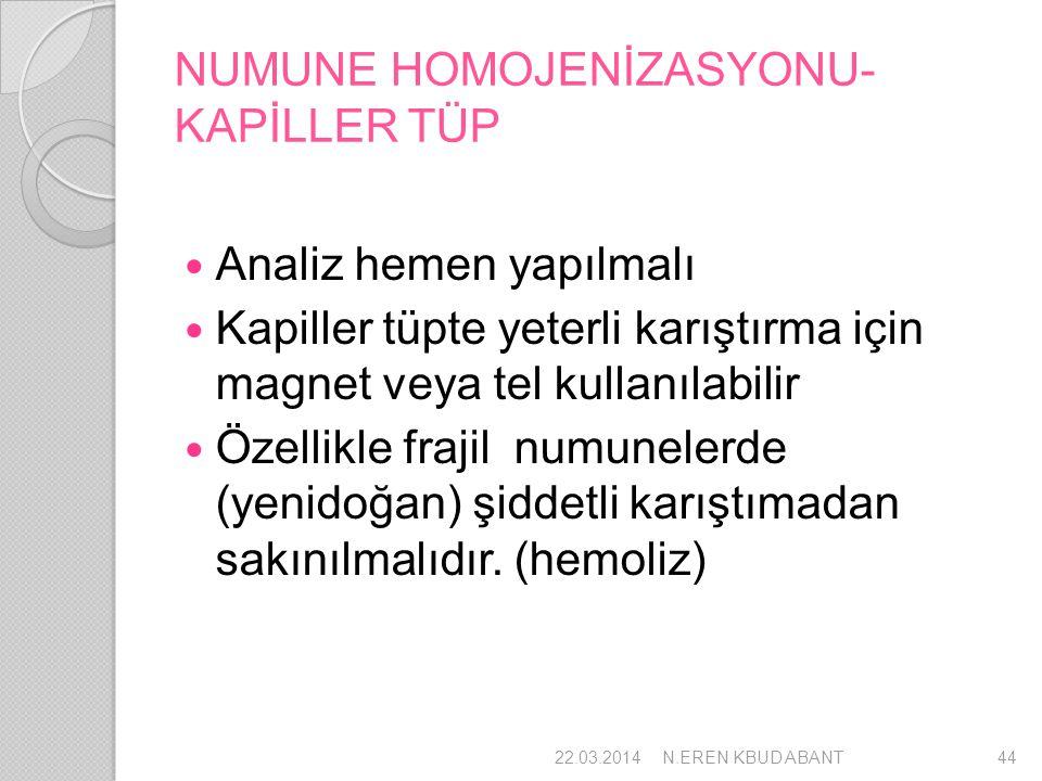 NUMUNE HOMOJENİZASYONU-KAPİLLER TÜP