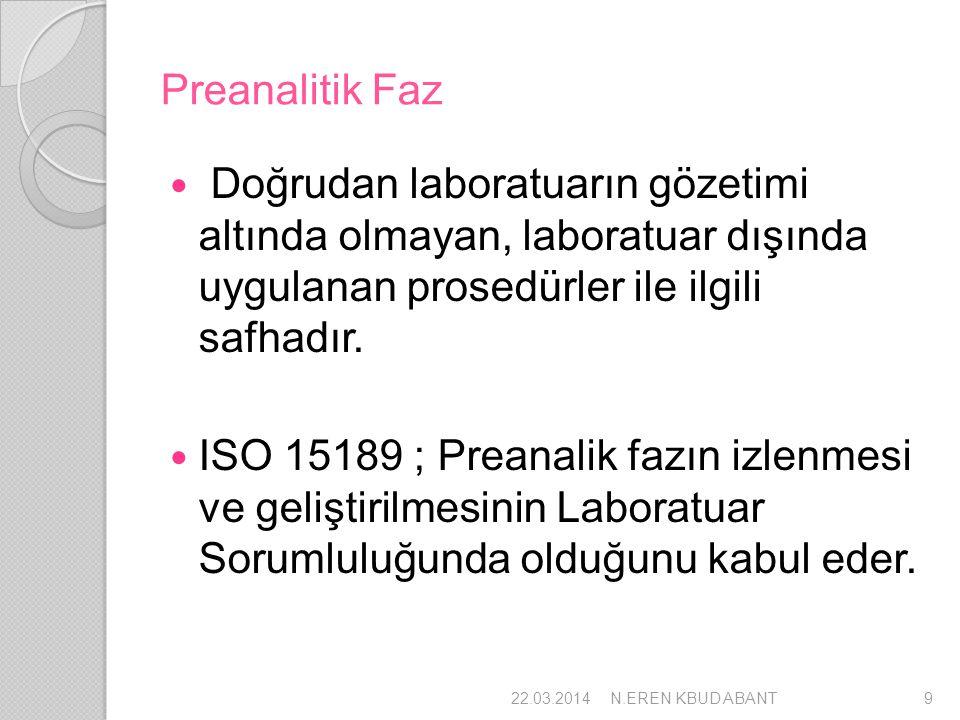 Preanalitik Faz Doğrudan laboratuarın gözetimi altında olmayan, laboratuar dışında uygulanan prosedürler ile ilgili safhadır.