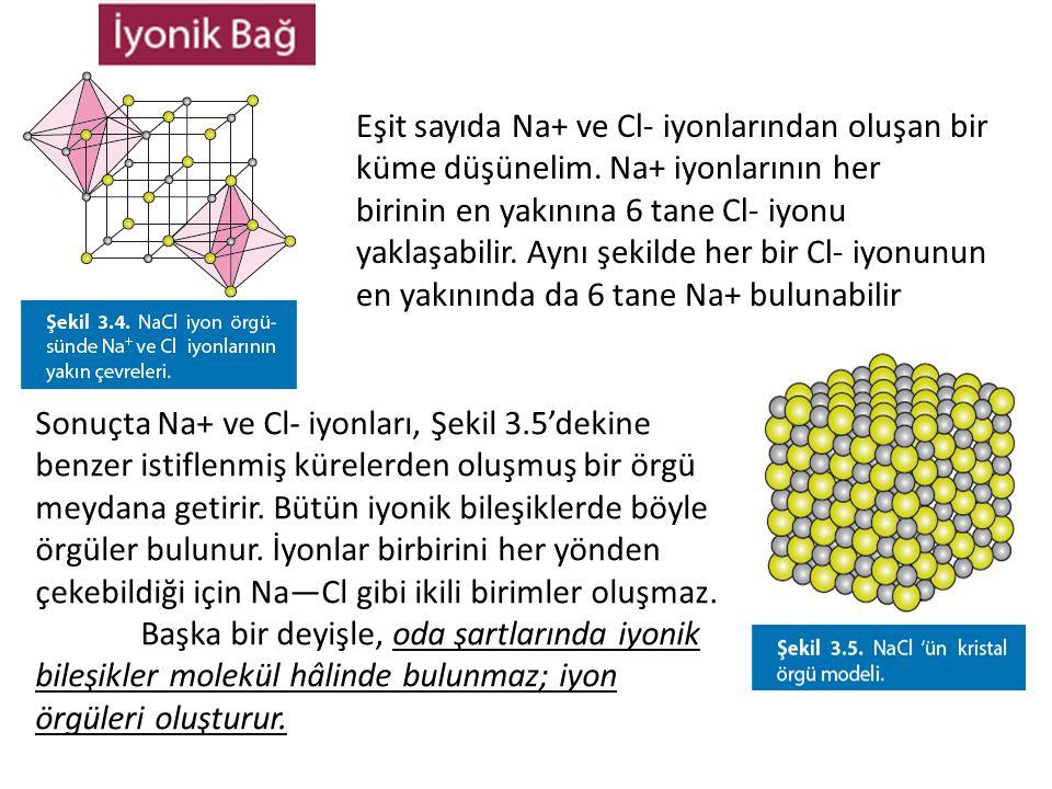 Eşit sayıda Na+ ve Cl- iyonlarından oluşan bir küme düşünelim