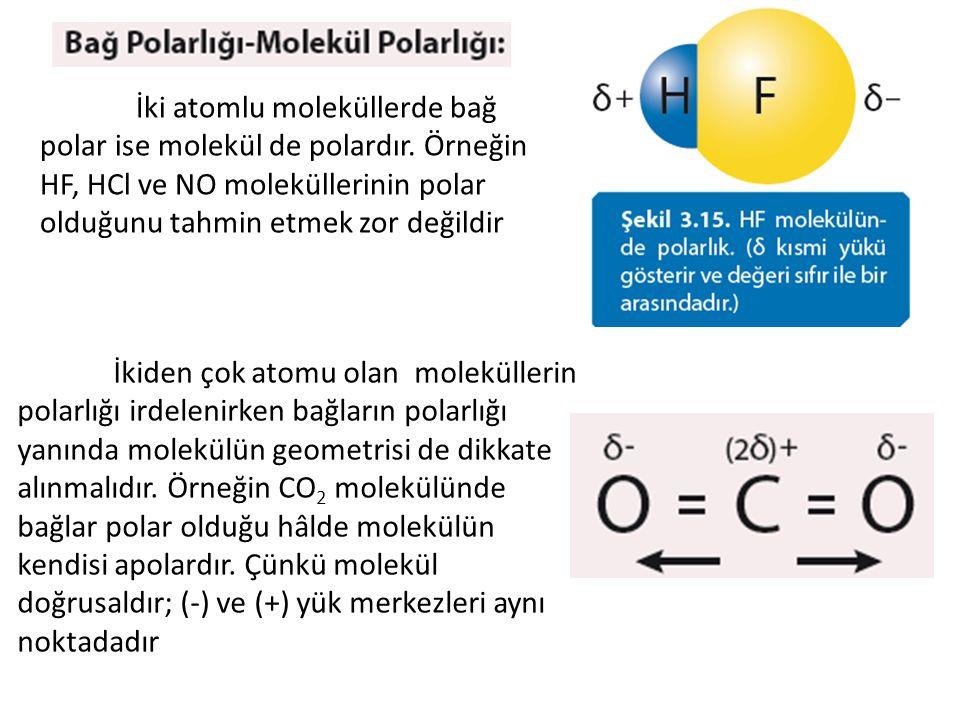 İki atomlu moleküllerde bağ polar ise molekül de polardır. Örneğin