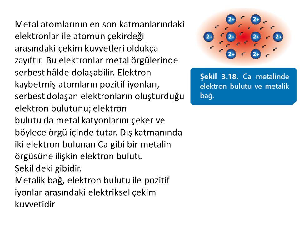 Metal atomlarının en son katmanlarındaki elektronlar ile atomun çekirdeği