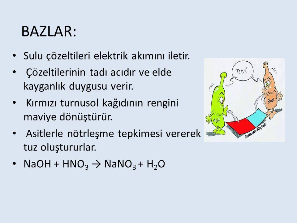 BAZLAR: Sulu çözeltileri elektrik akımını iletir.