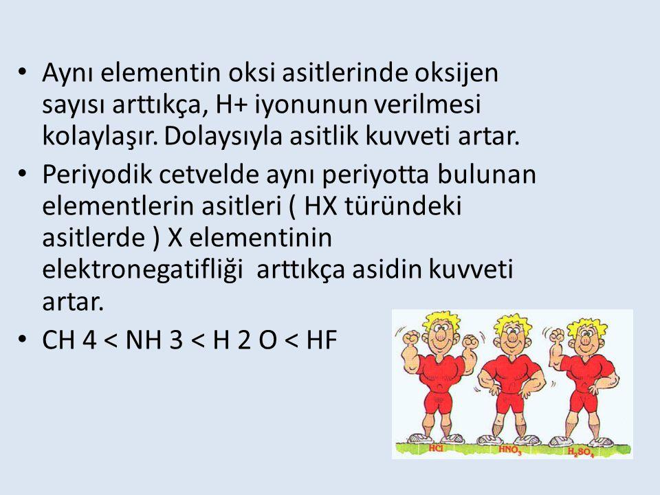 Aynı elementin oksi asitlerinde oksijen sayısı arttıkça, H+ iyonunun verilmesi kolaylaşır. Dolaysıyla asitlik kuvveti artar.
