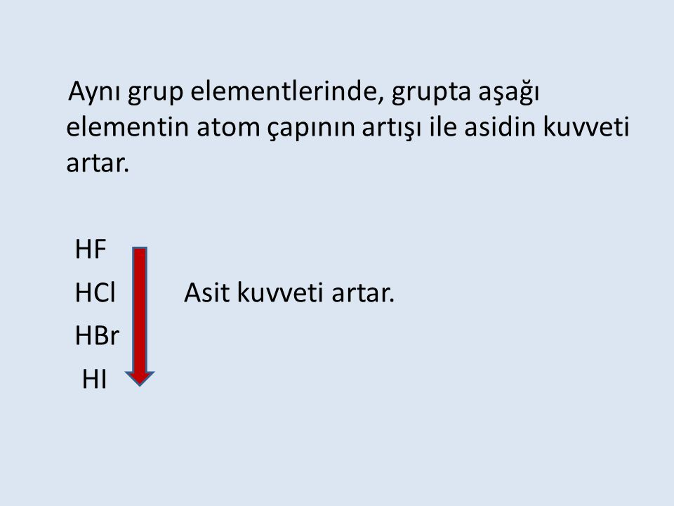 Aynı grup elementlerinde, grupta aşağı elementin atom çapının artışı ile asidin kuvveti artar.