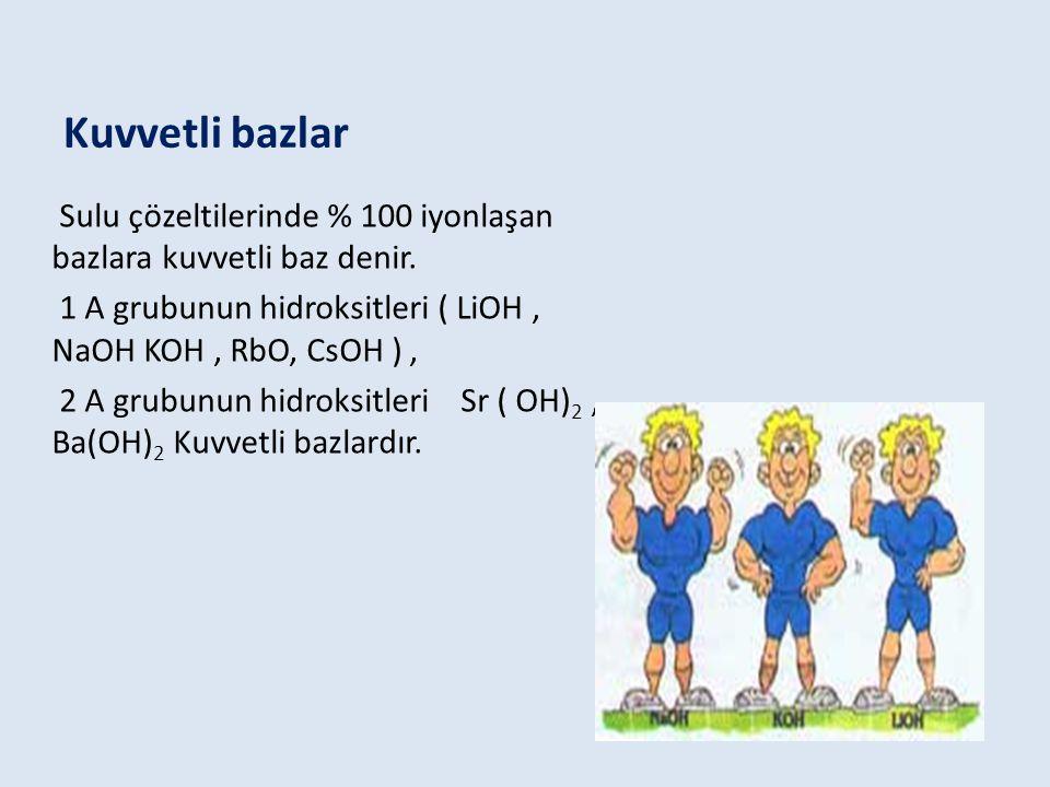 Kuvvetli bazlar Sulu çözeltilerinde % 100 iyonlaşan bazlara kuvvetli baz denir.