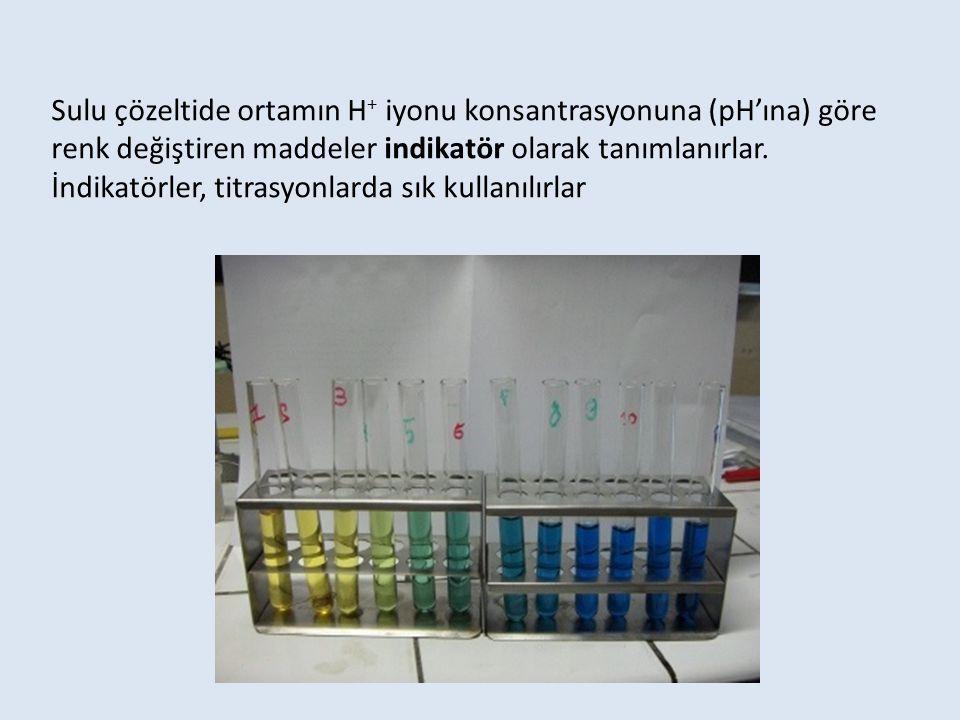 Sulu çözeltide ortamın H+ iyonu konsantrasyonuna (pH'ına) göre renk değiştiren maddeler indikatör olarak tanımlanırlar.