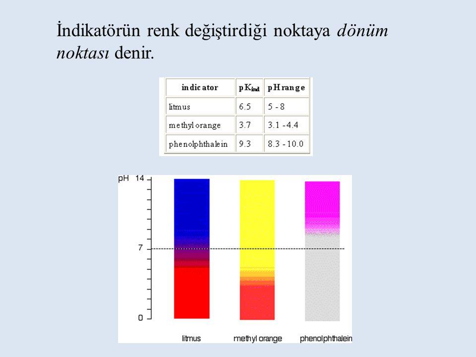 İndikatörün renk değiştirdiği noktaya dönüm noktası denir.